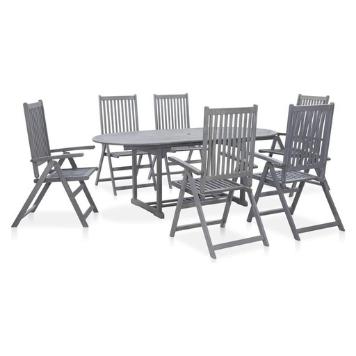 Set mobilier gradina, 7 piese, gri, lemn masiv de acacia