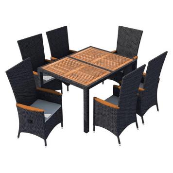 Set mobilier gradina 7 piese negru poliratan lemn de acacia