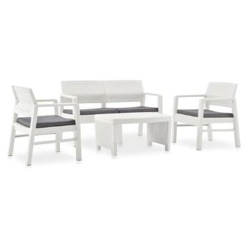 Set mobilier gradina cu perne, 4 piese, alb, plastic