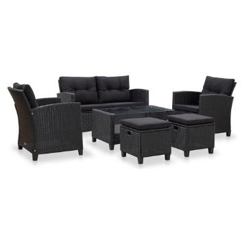 Set mobilier gradina cu perne, 6 piese, negru, poliratan 6 persoane
