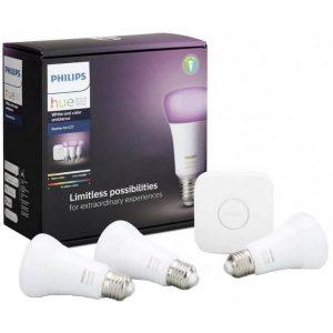 Pachet 3 becuri inteligente LED RGBW Philips Hue